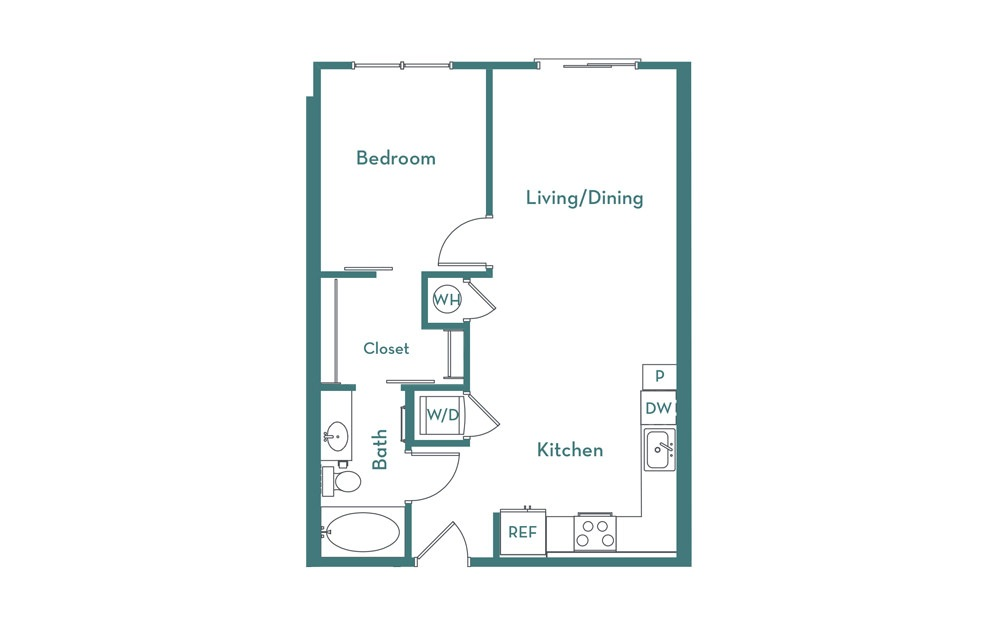A1.1 - 1 bedroom floorplan layout with 1 bath and 660 square feet.
