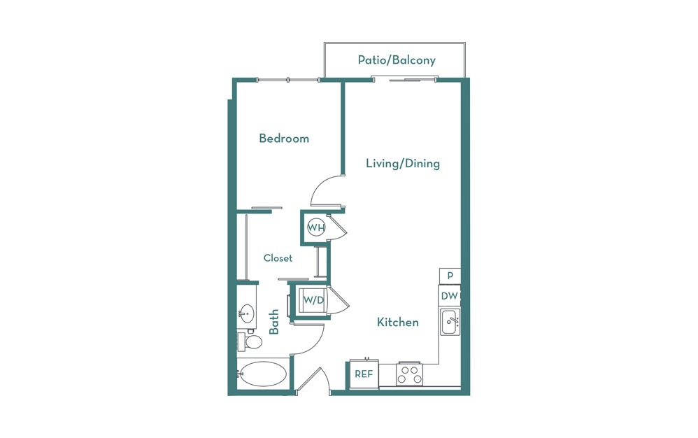 A1.2 - 1 bedroom floorplan layout with 1 bath and 660 square feet.