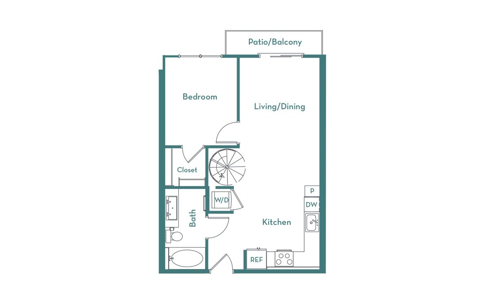 A1L - 1 bedroom floorplan layout with 1 bath and 878 square feet. (main)