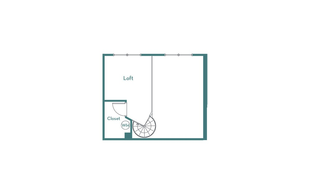 A1L - 1 bedroom floorplan layout with 1 bath and 878 square feet. (loft)