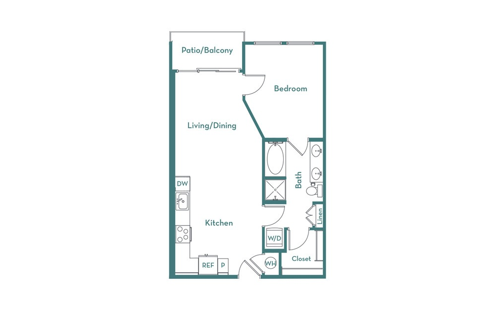 A2.1 - 1 bedroom floorplan layout with 1 bath and 708 square feet.