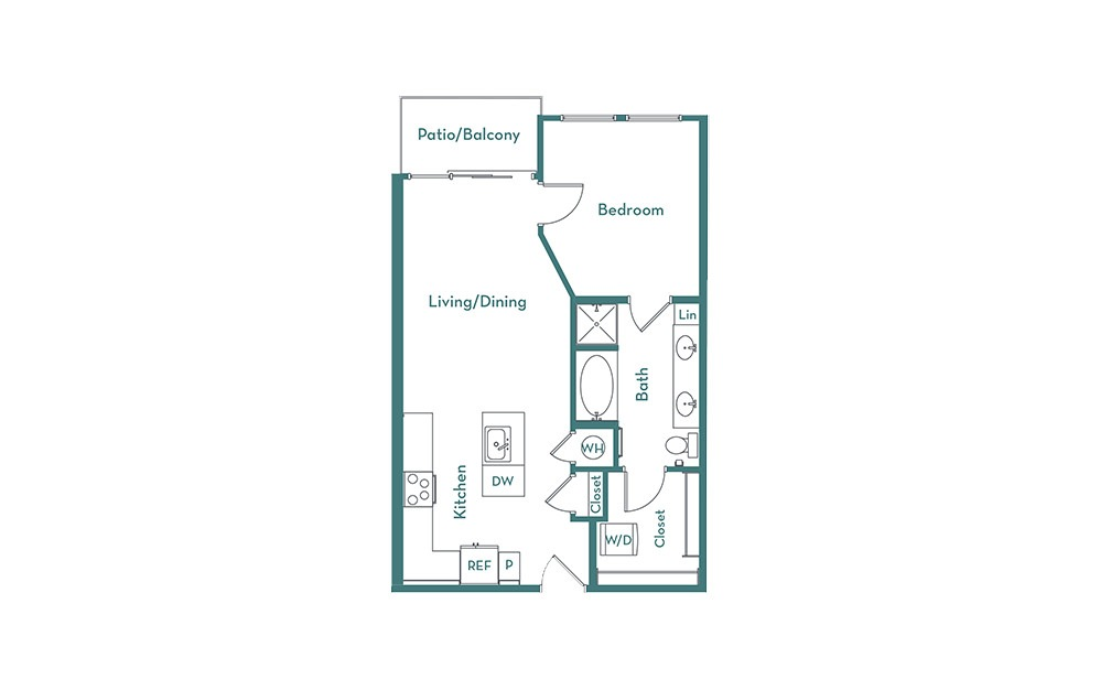 A2.2 - 1 bedroom floorplan layout with 1 bath and 708 square feet.