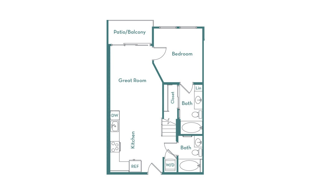 A2L - 1 bedroom floorplan layout with 1 bath and 960 square feet. (main)