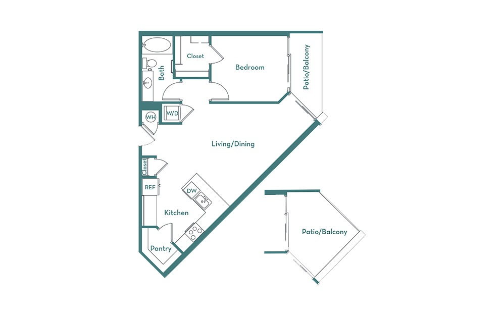 A3 - 1 bedroom floorplan layout with 1 bath and 787 square feet.