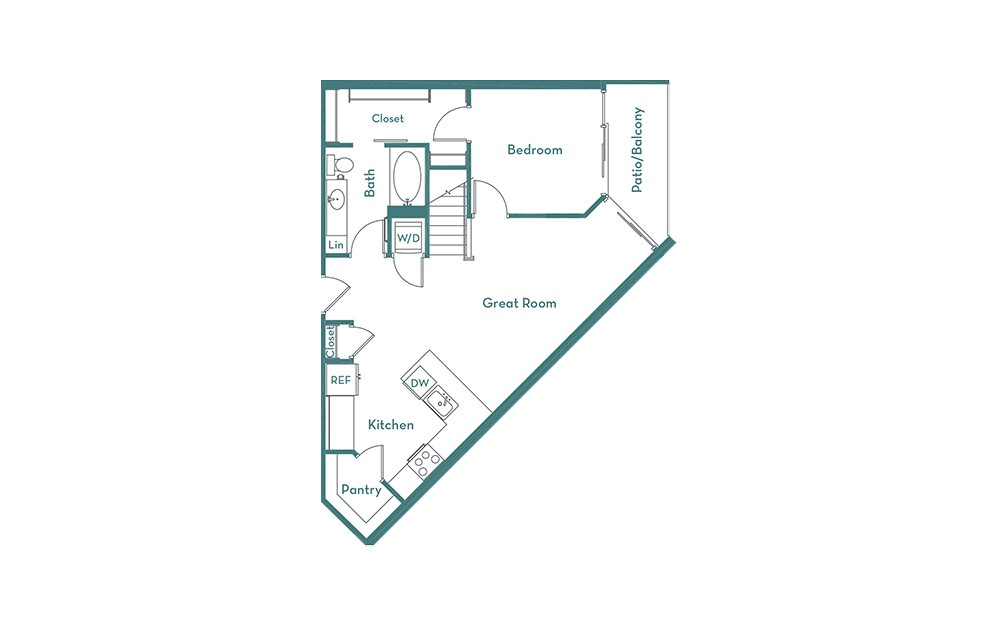 A3L - 1 bedroom floorplan layout with 2 baths and 1100 square feet. (main)
