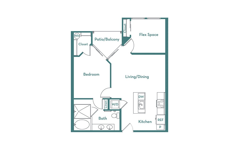 A4 - 1 bedroom floorplan layout with 1 bath and 840 square feet.