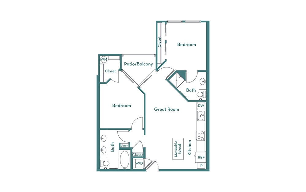 B1 - 2 bedroom floorplan layout with 2 baths and 900 square feet.