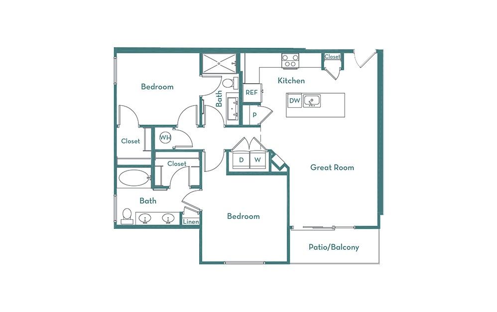 B2 - 2 bedroom floorplan layout with 2 baths and 1076 square feet.