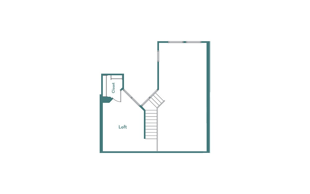 BL - 1 bedroom floorplan layout with 1.5 bath and 1154 square feet. (loft)