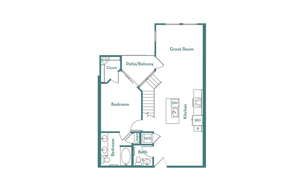 BL - 1 bedroom floorplan layout with 1.5 bath and 1154 square feet. (main)