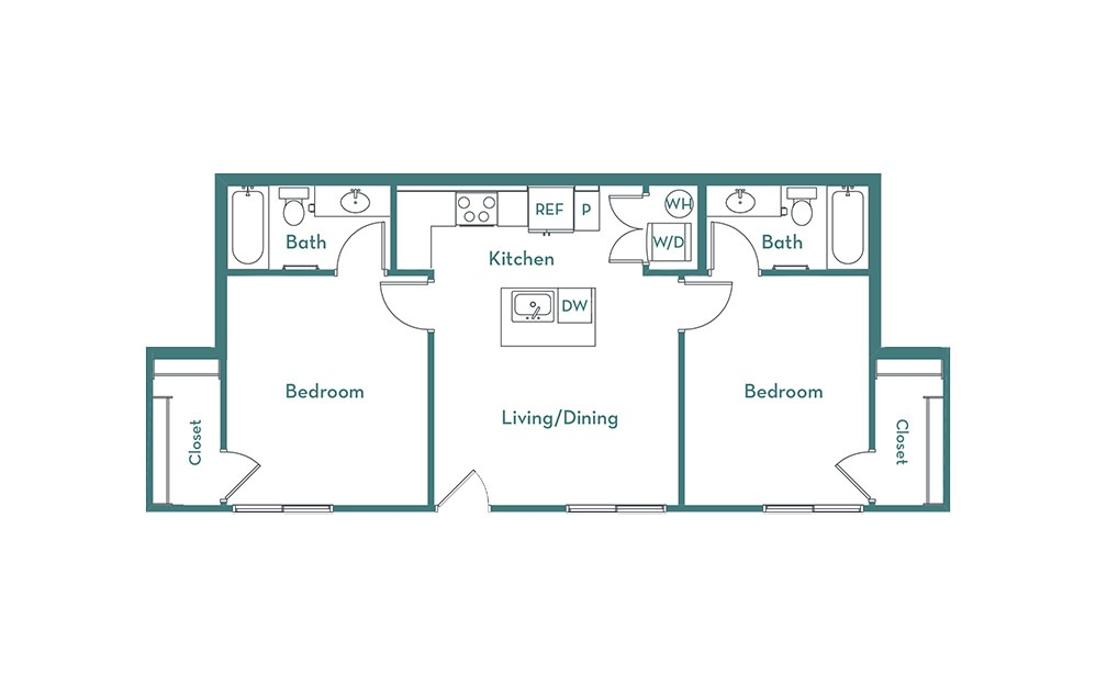 C1 - 2 bedroom floorplan layout with 2 baths and 857 square feet.