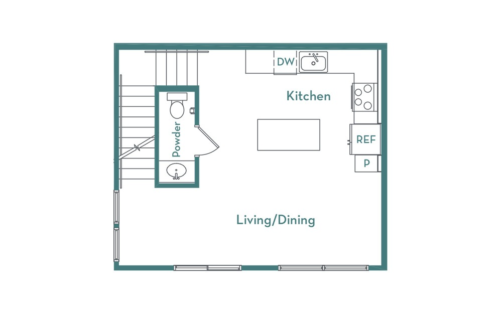 C2 - 2 bedroom floorplan layout with 2.5 baths and 1007 square feet. (floor 1)
