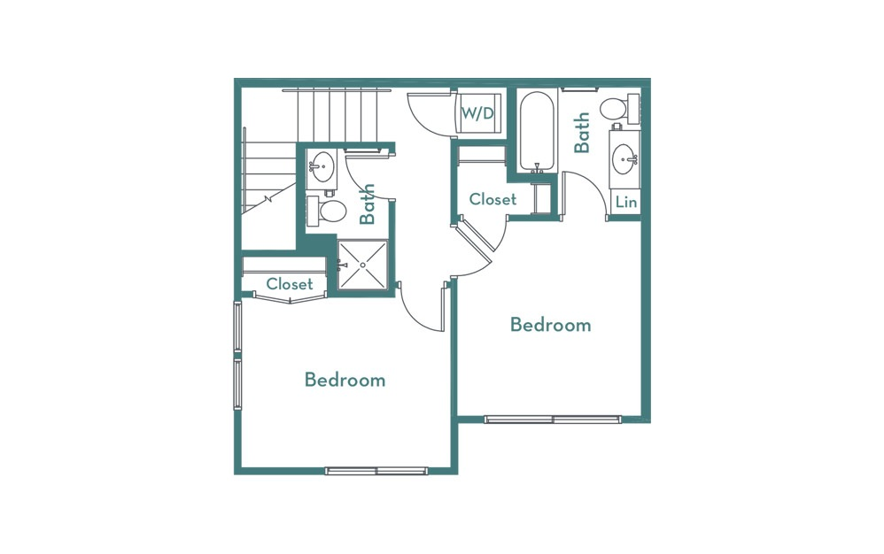 C2 - 2 bedroom floorplan layout with 2.5 baths and 1007 square feet. (floor 2)