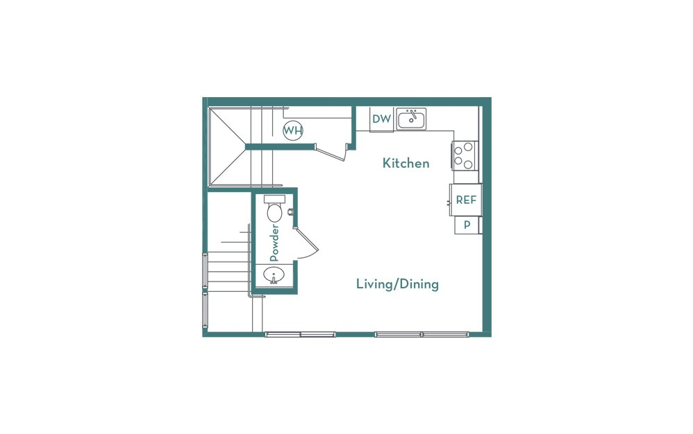 C3 - 2 bedroom floorplan layout with 2.5 baths and 1007 square feet. (floor 1)