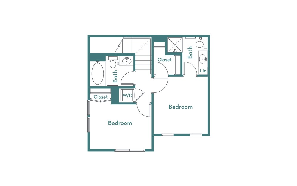 C3 - 2 bedroom floorplan layout with 2.5 baths and 1007 square feet. (floor 2)