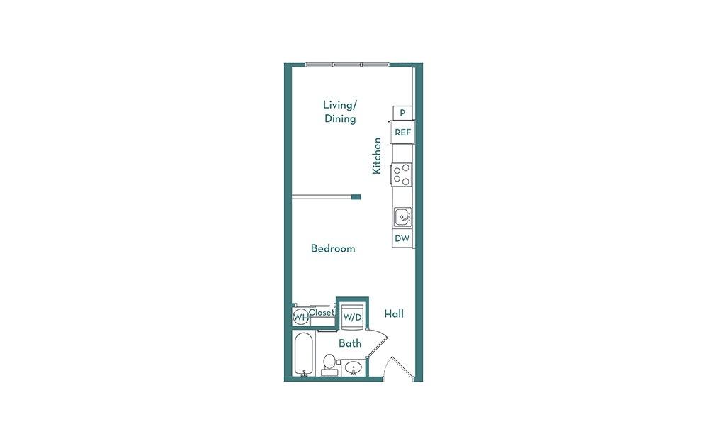S1.1 - Studio floorplan layout with 1 bath and 476 square feet.