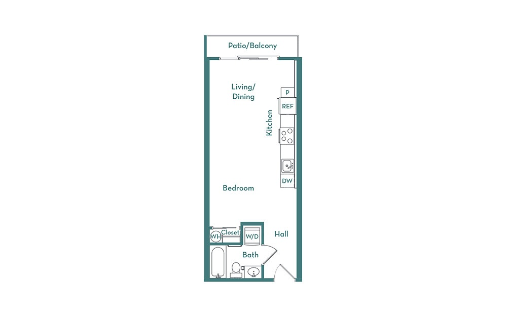 S1.2 - Studio floorplan layout with 1 bath and 476 square feet.