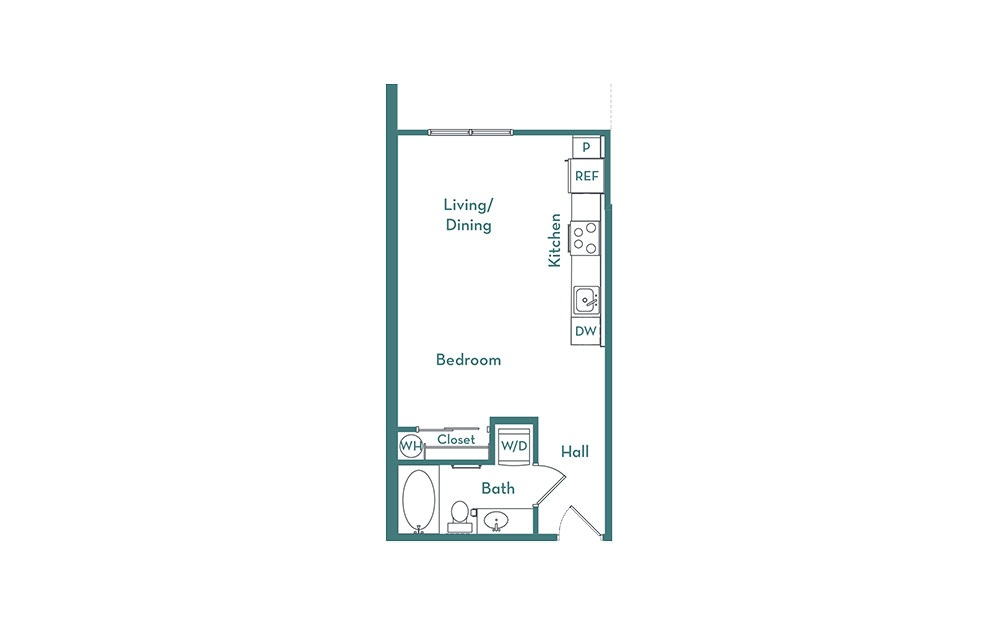 S1.3 - Studio floorplan layout with 1 bath and 478 square feet.