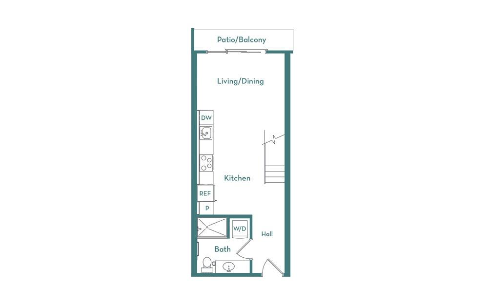 SL - Studio floorplan layout with 1 bath and 702 square feet. (main)