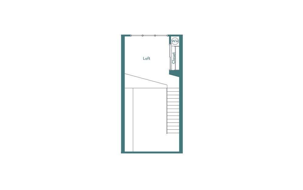 SL - Studio floorplan layout with 1 bath and 702 square feet. (loft)